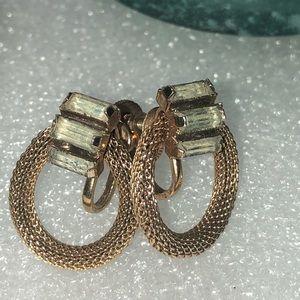 Vintage 1930's Gold tone Baguette Earrings
